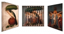 Still Life Crucifixion, Multiview Painting, Oil on Wood. 1999 12″x12″ Private Collection